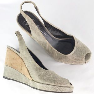 Donald J Pliner Peep Toe Slingback Wedge Shoes 6.5